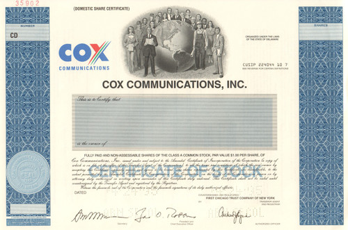 Cox Communications Inc. stock certificate specimen 1995