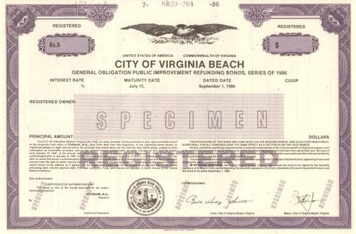 City of Virginia Beach  bond certificate specimen 1986