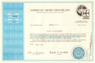 American Micro Devices stock certificate 1972 (Minnesota)