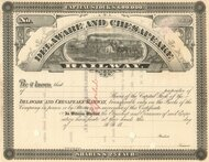 Delaware and Chesapeake Railway stock certificate circa 1877