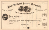 First National Bank of Brownville stock certificate circa 1871  (Nebraska)