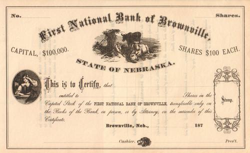 First National Bank of Brownville stock certificate circa 1871  (Nebraska)