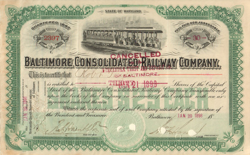 Baltimore Consolidated Railway Company stock certificate 1898  (Maryland)