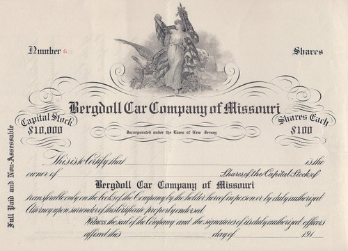 Bergdoll Car Company of Missouri 1908 stock certificate