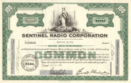 Sentinel Radio Corporation stock certificate 1952 (Illinois)