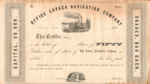 Office Lavaca Navigation Company stock certificate circa 1857 (Texas)