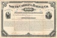 South Carolina Railway Co. bond certificate 1881