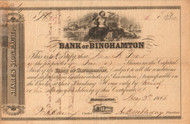 Bank of Binghamton stock certificate 1853 (Doubleday family)