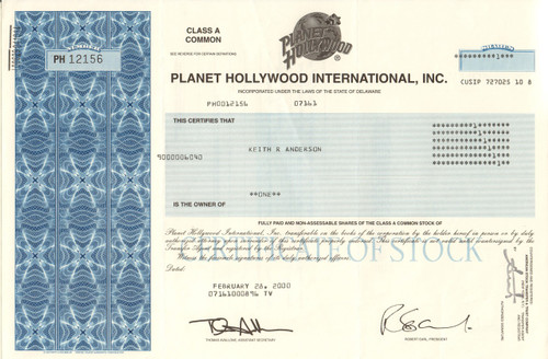 Planet Hollywood International stock certificate 2000