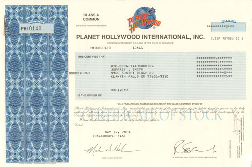 Planet Hollywood International stock certificate 2001