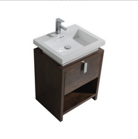 "LEVI 24"" ROSE WOOD MODERN BATHROOM VANITY W/ CUBBY HOLE"