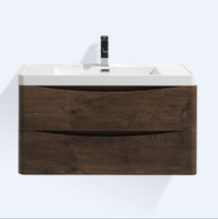 "SMILE 36"" ROSEWOOD WALL MOUNTED MODERN BATHROOM VANITY W/ 2 DRAWERS AND REEINFORCED ACRYLIC SINK"""