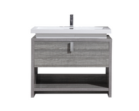 "LEVI 40"" HIGH GLOSS ASH GREY MODERN BATHROOM VANITY W/ CUBBY HOLE"