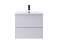 "MOB 24"" HIGH GLOSS WHITE WALL MOUNTED MODERN BATHROOM VANITY WITH REEINFORCED ACRYLIC SINK"