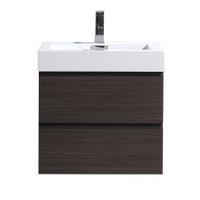"MOF 24"" DARK GREY OAK WALL MOUNTED MODERN BATHROOM VANITY WITH REEINFORCED ACRYLIC SINK"