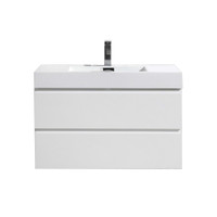 "MOF 36"" HIGH GLOSS WHITE WALL MOUNTED MODERN BATHROOM VANITY WITH REEINFORCED ACRYLIC SINK"