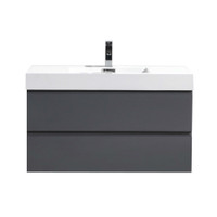 "MOF 40"" HIGH GLOSS GREY WALL MOUNTED MODERN BATHROOM VANITY WITH REEINFORCED ACRYLIC SINK"