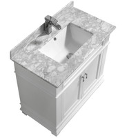 "Fayer 30"" White Bathroom Vanity With Carrara Marble Top"