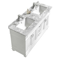 "Fayer 60"" Double Sink White Bathroom Vanity With Carrara Marble Top"