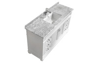 "Fayer 60"" Single Sink white Bathroom Vanity With Carara Marble Top"