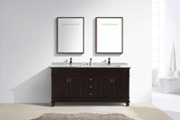 "Moreno Fayer 72"" Double Sink Espresso Bathroom Vanity With Carrara Marble Top"