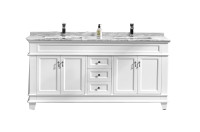 "Fayer 72"" Double Sink White Bathroom Vanity With Carrara Marble Top"