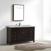 "Moreno Fayer 60"" Single Sink Espresso Bathroom Vanity With Carrara Marble Top"