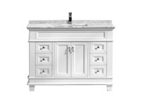 "Fayer 48"" White Bathroom Vanity With Carrara Marble Top"