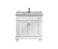 "Fayer 36"" White Bathroom Vanity With Carrara Marble Top"