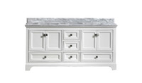 "MAPLE 60"" DOUBLE SINK WHITE BATHROOM VANITY WITH CARRARA MARBLE TOP"