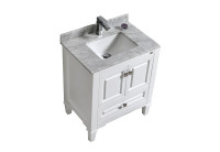 "SYCA 30"" WHITE BATHROOM VANITY WITH CARRARA MARBLE TOP"