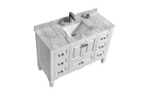 "SYCA 48"" WHITE BATHROOM VANITY WITH CARRARA MARBLE TOP"