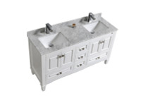 "SYCA 60"" DOUBLE SINK WHITE BATHROOM VANITY WITH CARRARA MARBLE TOP"