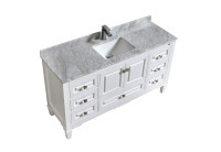 "SYCA 60"" SINGLE SINK WHITE BATHROOM VANITY WITH CARRARA MARBLE TOP"