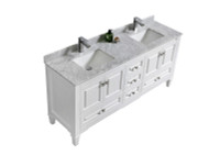 "Syca 72"" DOUBLE SINK WHITE BATHROOM VANITY WITH CARRARA MARBLE TOP"