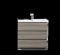MOA 36″  MAYPLE GREY  MODERN BATHROOM VANITY W/ 3 DRAWERS AND ACRYLIC SINK
