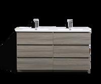 MOA 60″ DOUBLE SINK MAYPLE GREY BATHROOM VANITY W/ 6 DRAWERS AND ACRYLIC SINK