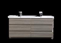 MOA 72″ DOUBLE SINK MAYPLE GREY MODERN BATHROOM VANITY W/ 6 DRAWERS AND ACRYLIC SINK