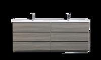 MOA 84″ DOUBLE SINK MAYPLE GREY  MODERN BATHROOM VANITY W/ 6 DRAWERS AND ACRYLIC SINK
