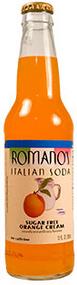 Buy Romano's Sugar Free Orange Cream Italian Soda in 12oz glass bottles from SummitCitySoda.com