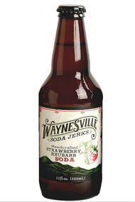 Waynesville Soda Jerks Handcrafted Strawberry Rhubarb Soda in 12 oz glass bottles at SummitCitySoda.com