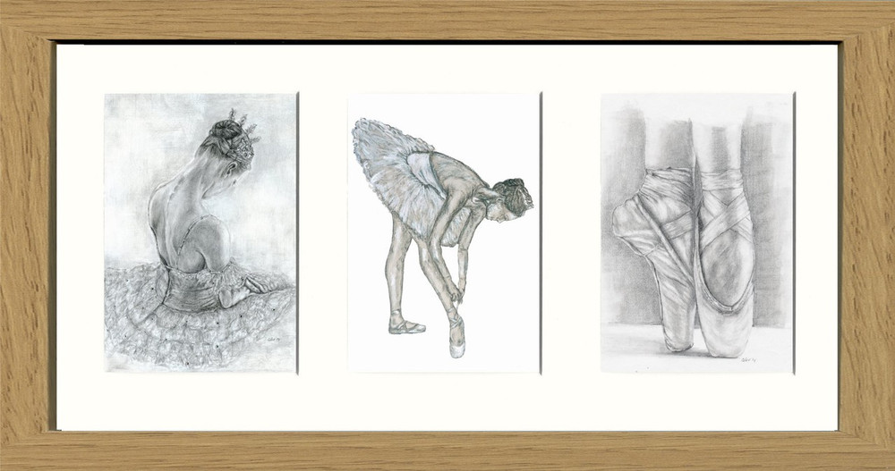 Ballerina Triptych No2 - Collector\'s Prints - Willow Fine Arts