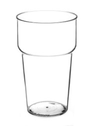 Clear Plastic Beer Glass in 12, 16, and 20oz.