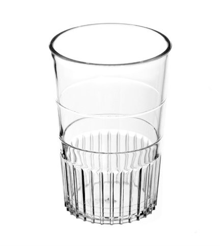 Sure-Grip ergonomically designed shot glasses with clear 1oz sight line for portion control.