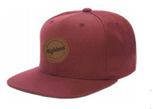 Burgundy Leather Patch Snapback Hat