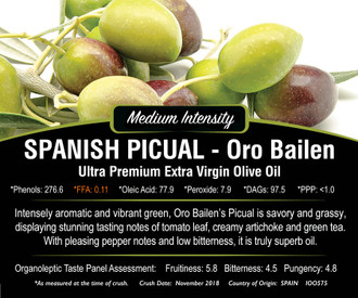 Spanish Picual-Oro Bailen Extra Virgin Olive Oil