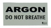 ARGON: DO NOT BREATHE warning decal