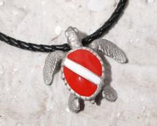 Sea Turtle with Dive Flag Necklace - Pewter