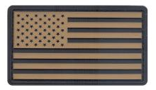 PVC US Flag Patch (Black/Khaki)