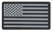 PVC US Flag Patch (Black/Silver)